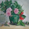 Camellias in a Green Vase
